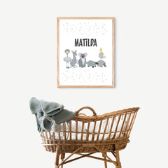 Australian Animals Personalised Print - Happy Joy Decor