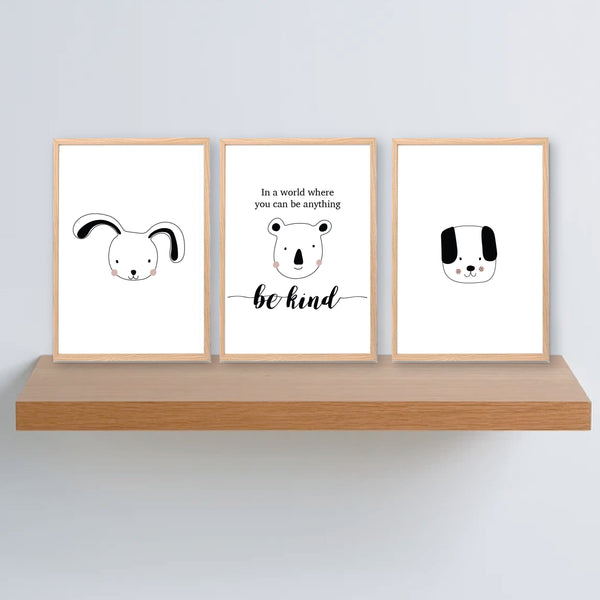 In A World Where You Can Be Anything Be Kind Printable Wall Art Set - Happy Joy Decor