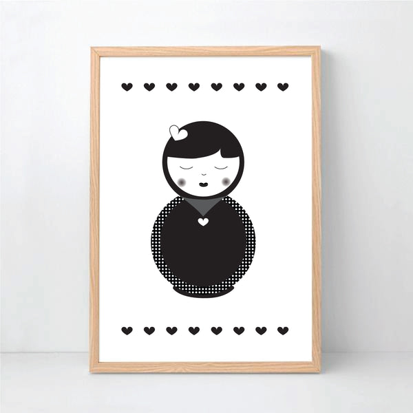 Monochrome Babushka Printable Wall Art - Happy Joy Decor