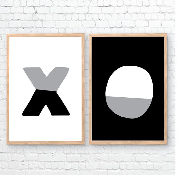 XO Black White Printable Wall Art - Happy Joy Decor