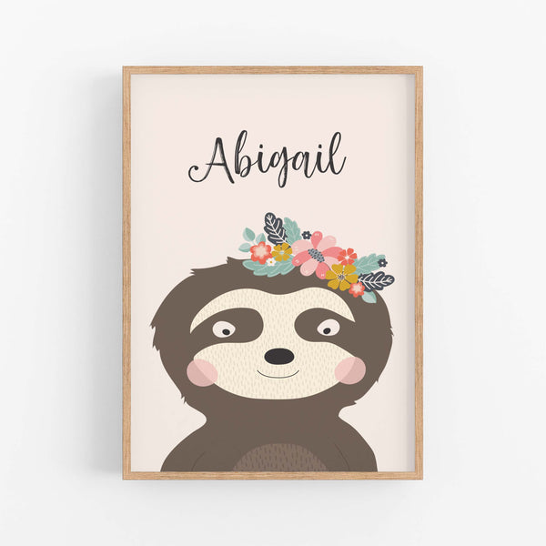 Sloth Personalised Print - Custom  Name Prints -Happy Joy Decor