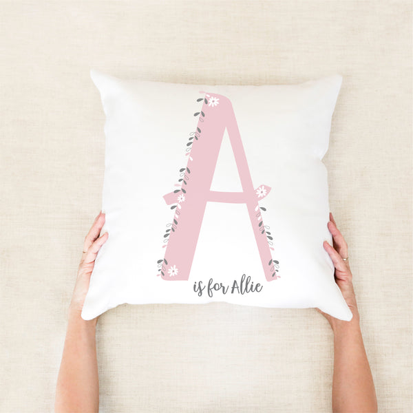 Monogram Floral Personalised Cushion - girls pink bedroom decor - Happy joy Decor