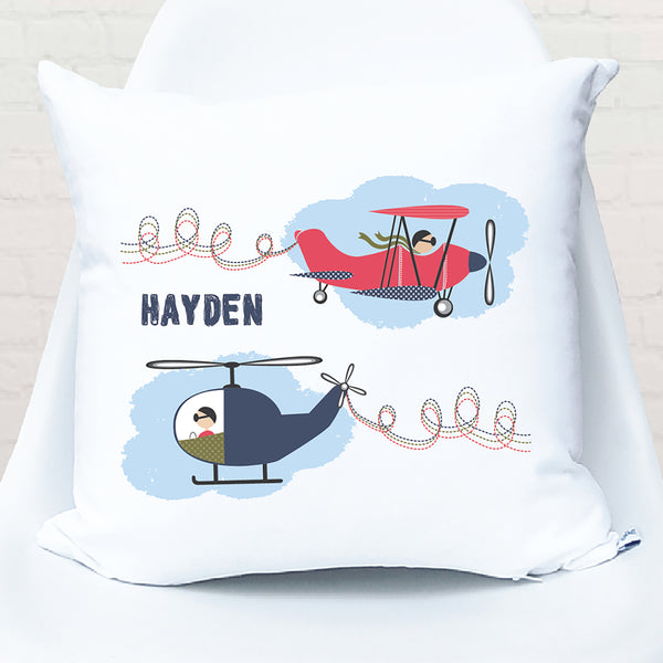 Plane & helicopter personalised cushion - Happy Joy Decor