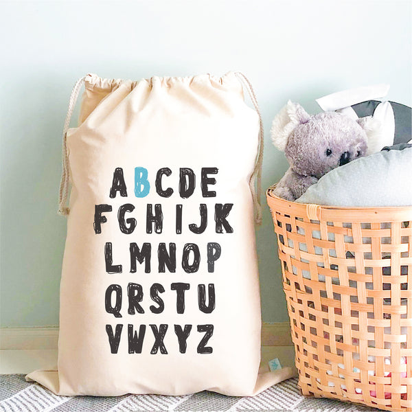 Kids Alphabet Personalised Toy Storage Sack - Happy Joy Decor