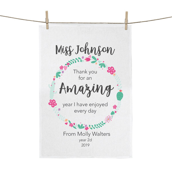 Thank you for an amazing year personalised teacher tea towel - Happy Joy Decor