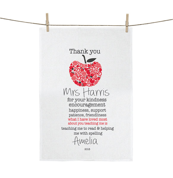 Apple for the teacher personalised tea towel - Happy Joy Decor