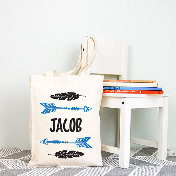 Arrow Boys Personalised Library Tote Bag - Happy Joy Decor