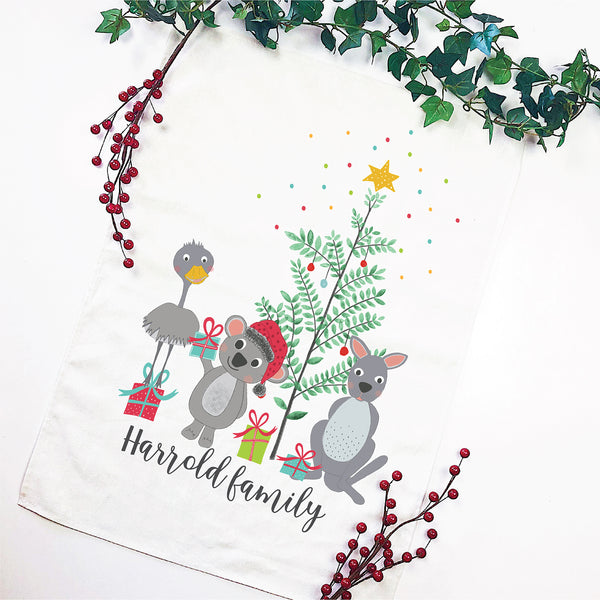 Aussie Christmas Friends Personalised Tea Towel - Happy Joy Decor