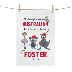 Aussie Christmas Personalised Tea Towel - Happy Joy Decor