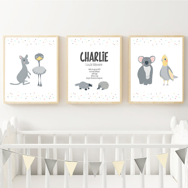 Australian Animals Personalised Birth Wall Art Set - Happy Joy Decor
