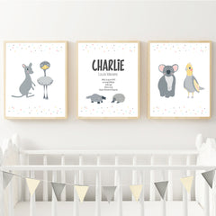 Australian Animals Personalised Birth Wall Art Print Set