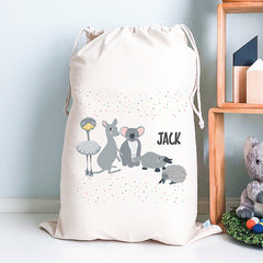 Australian Animals Kids Personalised Toy Storage Sack - Happy Joy Decor