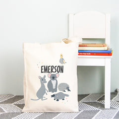 Australian Animals Personalised Kids Library Tote Bag - Happy Joy Decor
