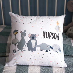 Australian animals personalised kid's cushion
