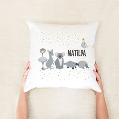 Australian animals personalised kid's cushion - Custom name pillow - Happy Joy Decor