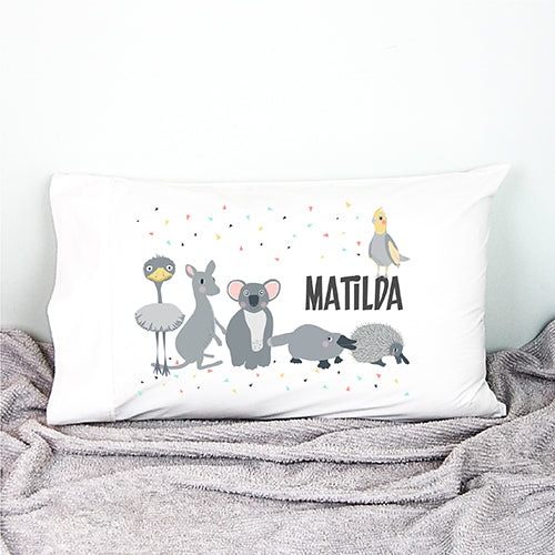 Australian animal kids personalised pillowcase - Happy Joy Decor