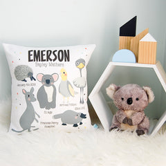 Australian Animals Personalised Birth Cushion