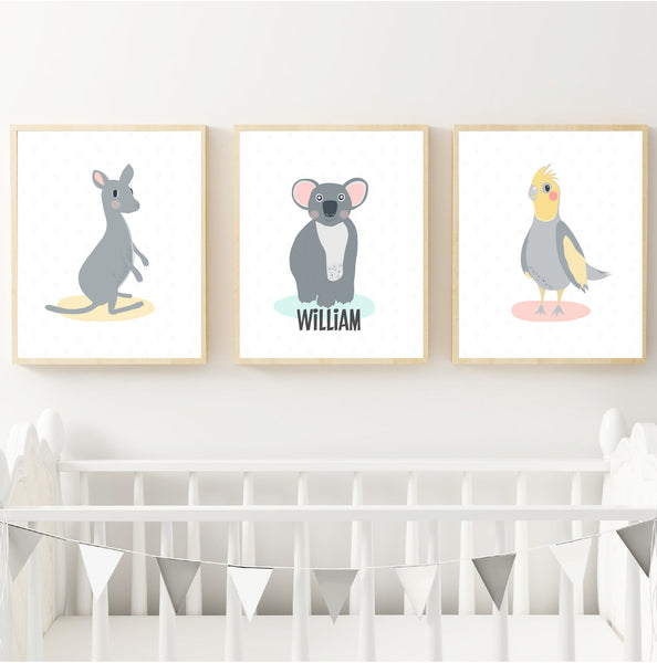 Kangaroo, Koala, & Cockatiel Australian Animal Personalised Print Set