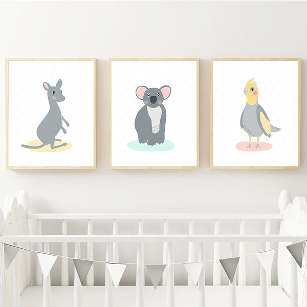 Kangaroo, Koala & Cockatiel Australian Animal Personalised Print Set Instant Download
