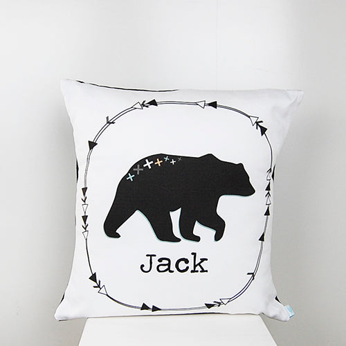 Black bear boy's personalised cushion - Happy Joy Decor