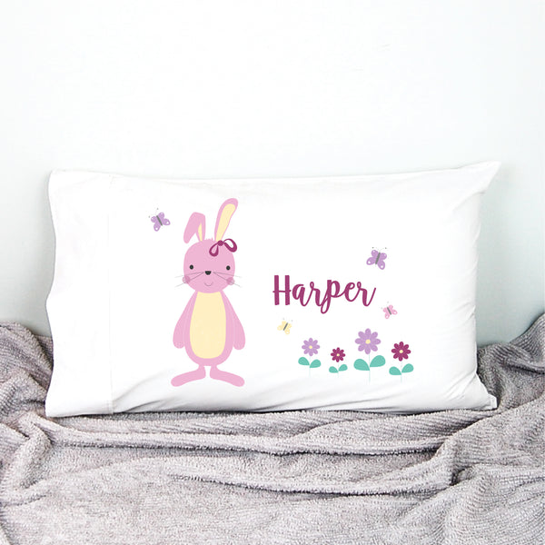 Pink Bunny Girls Personalised Pillowcase - Happy Joy Decor