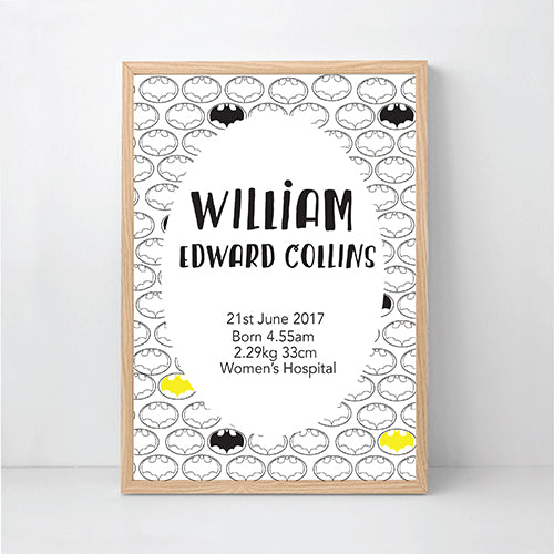 Batman Printable Personalised Birth Wall Art - Happy Joy Decor