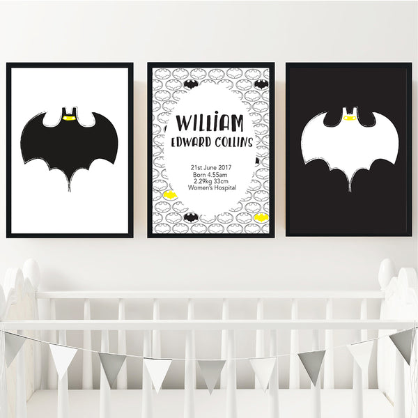 Batman Personalised Birth Wall Art Set - Happy Joy Decor