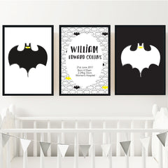 Batman Printable Personalised Birth Wall Art Set - Happy Joy Decor