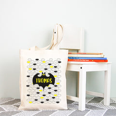 Batman Personalised Boys Library Tote Bag