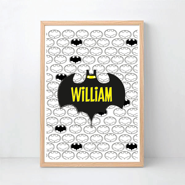 Batman Personalised Wall Print - Happy Joy Decor