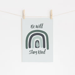 Be Wild Stay Kind Printable Art - Instant Download - Happy Joy Decor