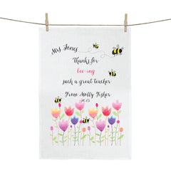Bee-ing The Best Teacher Personalised Tea Towel - Happy Joy Decor