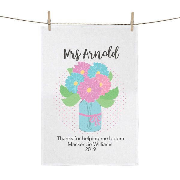 Bloom teacher personalised teacher tea towel