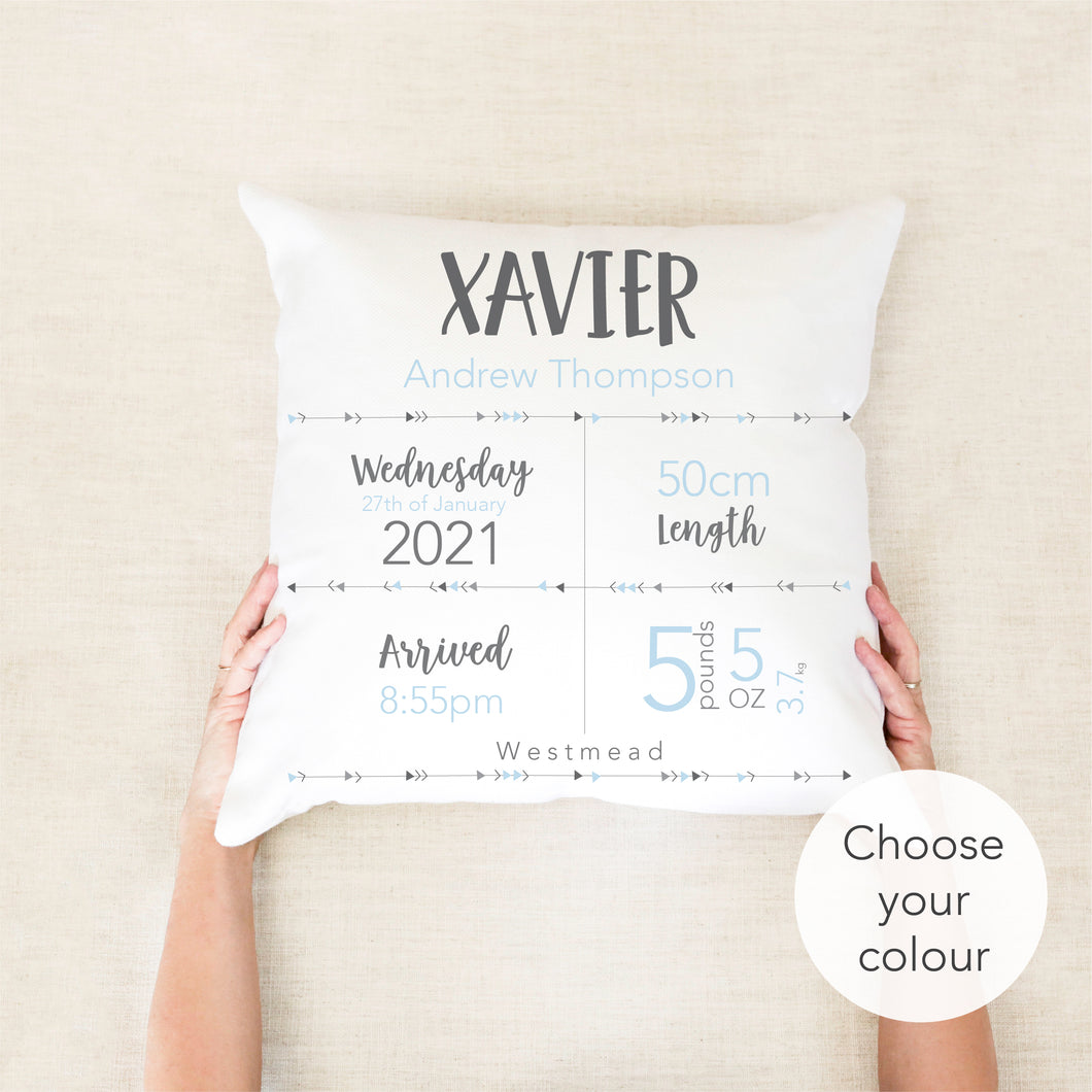Essential Birth Stat Cushion - Boys nursery decor - Happy Joy Decor