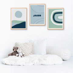 Blue Green Abstract Nursery Personalised Print Set - Happy Joy Decor