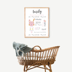 A baby girl's newborn birth print, designed with a blushing bunny & her bird in soft pink, mustard & grey. Personalised birth prints are such a wonderful gift for the arrival of a newborn baby. A perfect keepsake that will be kept for many many years to come. Every important detail will be captured in print forever. - Happy Joy Decor