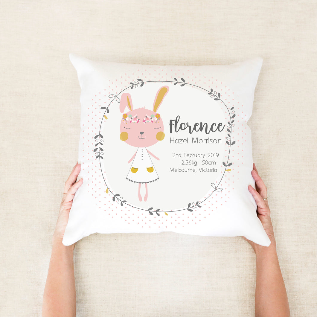 bunny birth stat cushion - custom birth pillow - Happy Joy Decor
