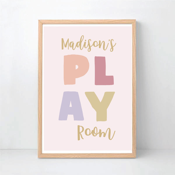Personalised Playroom Wall Art Print - Happy Joy Decor