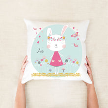 Load image into Gallery viewer, Girls boho bunny personalised cushion pillow - Happy Joy Decor