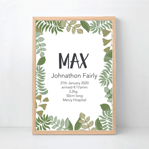 Botanical leaf boys nursery birth print - Happy Joy Decor