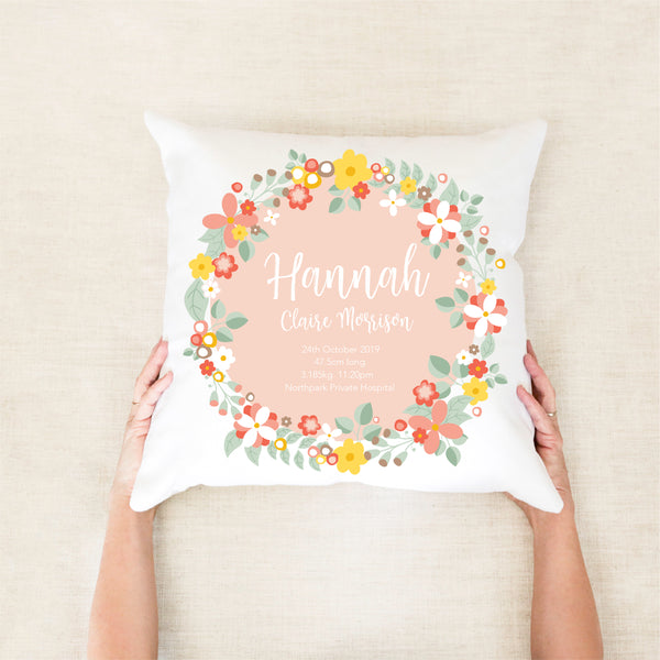 Bouquet Birth Stat Cushion - Girls nursery decor - Happy Joy Decor