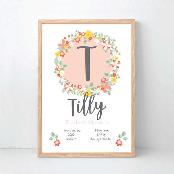 Bouquet Personalised Birth Print - Happy Joy Decor