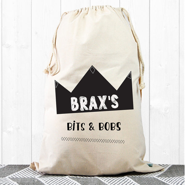 Boys Crown Personalised Storage Sack