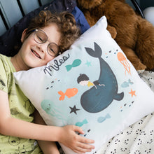 Load image into Gallery viewer, Whale Boys Personalised Cushion - boys custom name cushion - Happy Joy Decor