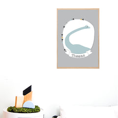 Brontosaurus Dinosaur Printable Personalised Wall Art - Happy Joy Decor