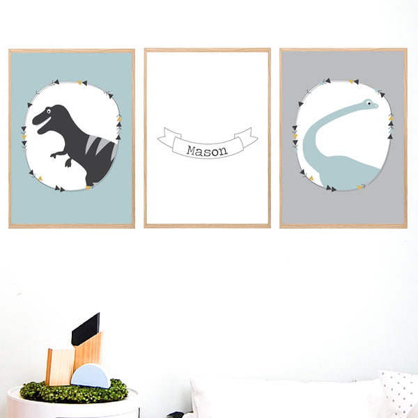 Boy's Dinosaur Printable Personalised Wall Art Set - Happy Joy Decor