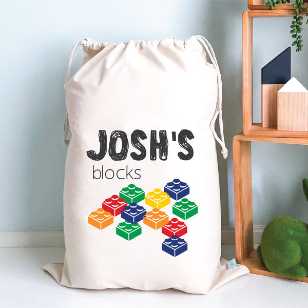 Boys Blocks Personalised Storage Sack - Happy Joy Decor
