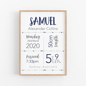 Boys Essential Birth Stat Print - Boys Nursery Decor - Happy Joy Decor