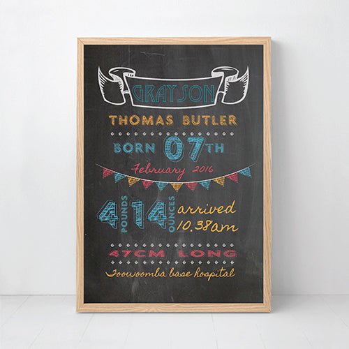 Boys Chalkboard Personalised Birth Wall Art - Happy Joy Decor