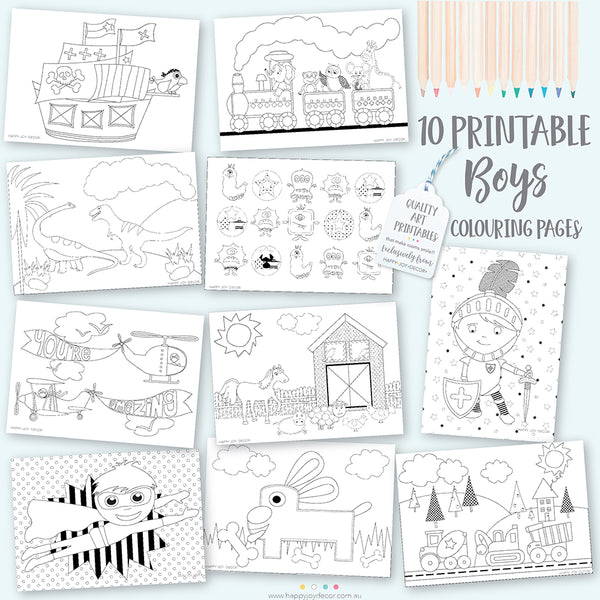 Boys printable designer colouring in book #1 - Happy Joy Decor